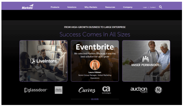 Marketo includes testimonials on its homepage