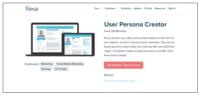 Xtensio's free User Persona Creator