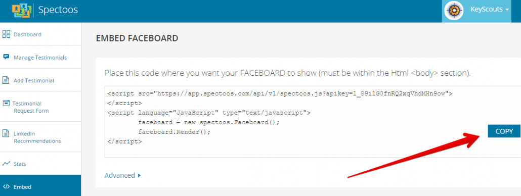 Embed Faceboard Code