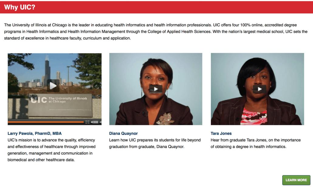 UIC video testimonials