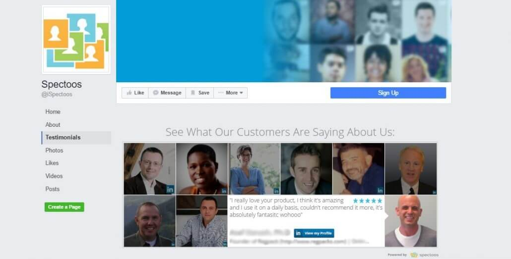 spectoos facebook website testimonials